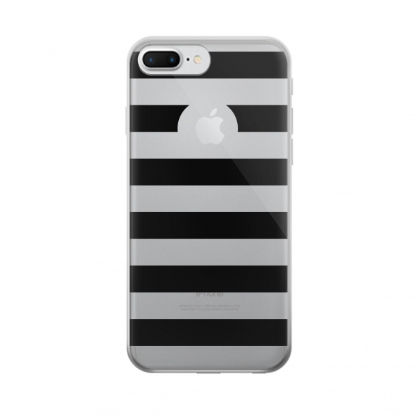 Clear Black and White Striped Iphone 7 plus Transparent Case