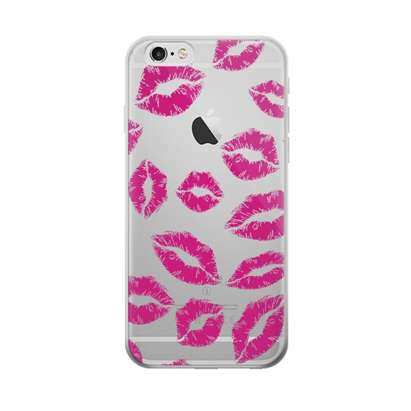 Clear Pink Lips Kisses Iphone 6 Transparent Case