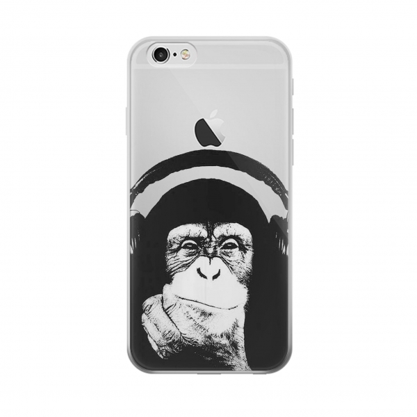 Clear Funny Monkey with Headphone Pop Music Iphone 6 Transparent Case