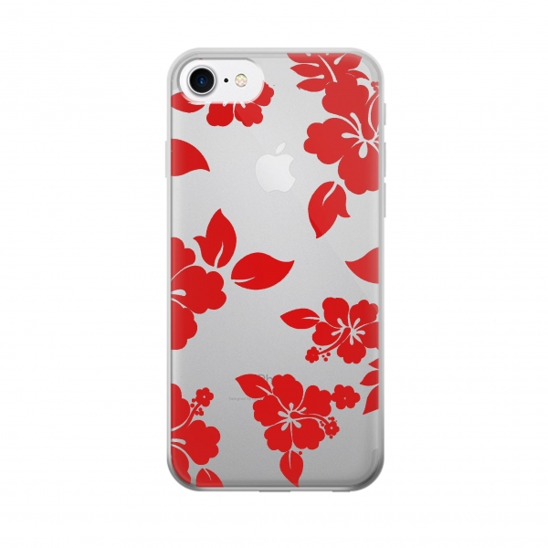 Clear Hawaiian Hibiscus Pattern Iphone 7 Transparent Case