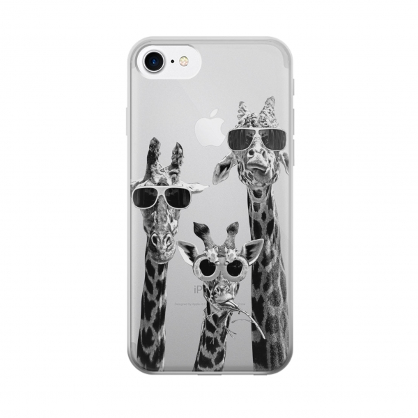 Clear Giraffes With Sunglasses Iphone 7 Transparent Case