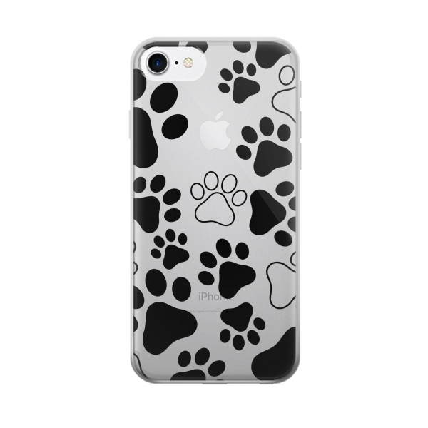 Clear Dog Paw Prints Iphone 7 Transparent Case