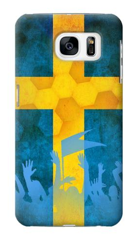 Printed Sweden Football Flag Samsung Galaxy S7 Case
