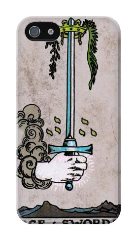 Printed Tarot Ace of Swords Iphone 4 Case
