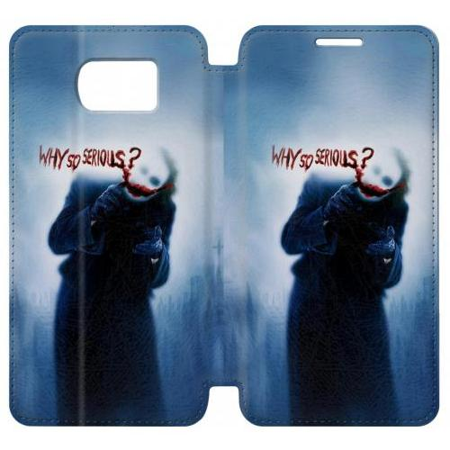 Flip PU Stand Batman Joker Why So Serious Phone Case for Samsung Galaxy S6