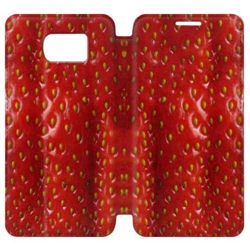 Flip PU Stand Strawberry Phone Case for Samsung Galaxy S7