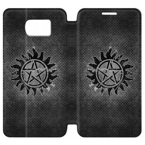 Flip PU Stand Supernatural Antidemonpos Symbol Phone Case for Samsung Galaxy S7