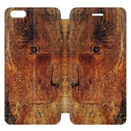 Flip PU Stand Wood Skin Graphic Phone Case for IPHONE 6 PLUS