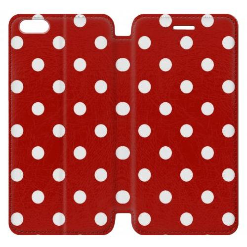 Flip PU Stand Red Polka Dots Phone Case for IPHONE 6 PLUS
