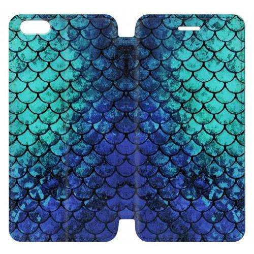 Flip PU Stand Green Mermaid Fish Scale Phone Case for IPHONE 6