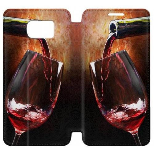 Flip PU Stand Red Wine Bottle And Glass Phone Case for Samsung Galaxy S6 edge
