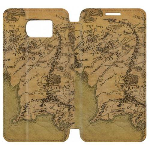 flip pu stand the lord of the rings middle earth map phone case for samsung galaxy