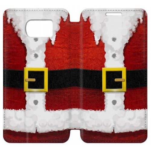 Flip PU Stand Christmas Santa Red Suit Phone Case for Samsung Galaxy S6 edge