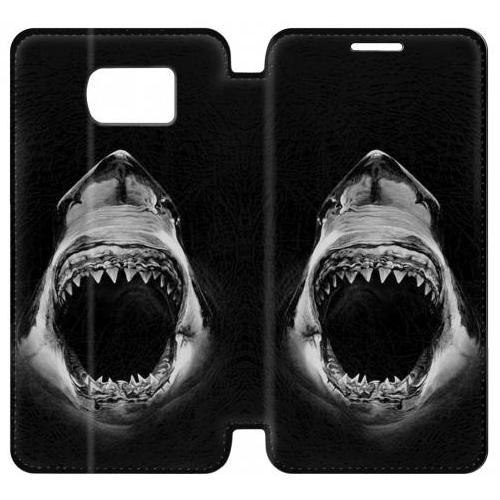 Flip PU Stand Great White Shark Phone Case for Samsung Galaxy S6 edge