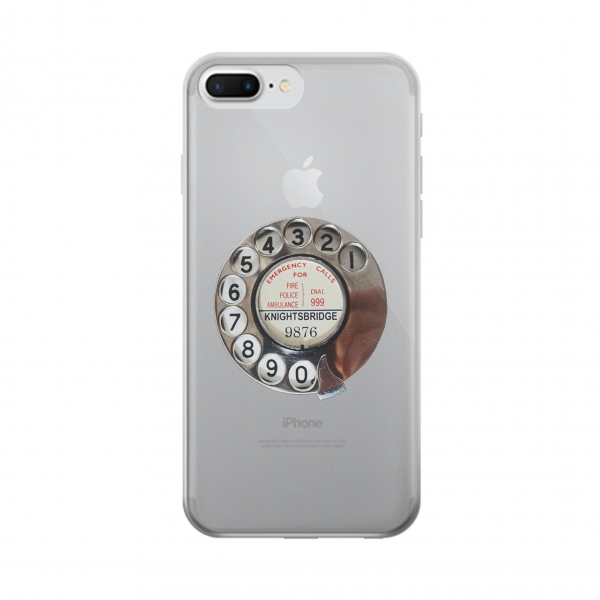 Clear Retro Rotary Phone Dial On Iphone 7 plus Transparent Case