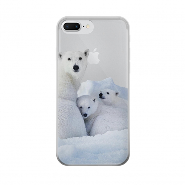 Clear Polar Bear Family Arctic Iphone 7 plus Transparent Case