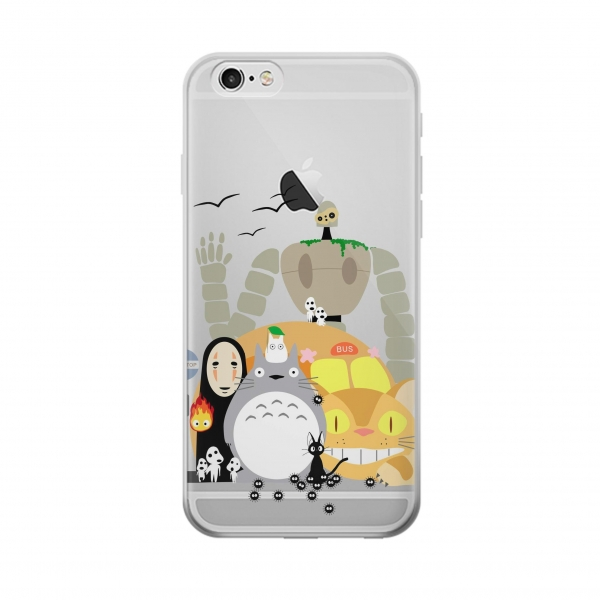 Clear Totoro Cat Bus Laputa Noface and Friends Iphone 6 Transparent Case