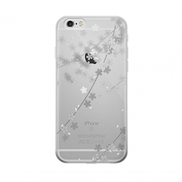 Clear Japanese Style Black Flower Pattern Iphone 6 Transparent Case
