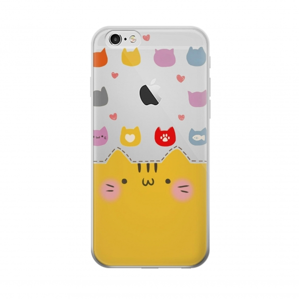 Clear Cute Cat Pattern Iphone 6 Transparent Case